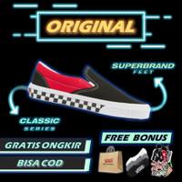 Vans Slip On BMX Checkerboard Black Red ORIGINAL Sepatu Vans Original