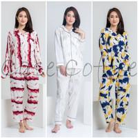 TANGAN PANJANG piyama wanita baju tidur tie dye katun celana dewasa