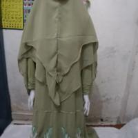 Zanke2 Gamis Set Hijab/Gamis Syar'i/Baju Wanita/Gamis Murah/Gamis - hijau mint