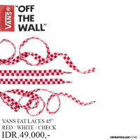 TALI SEPATU VANS OFF THE WALL   VANS FAT LACES 45 RED WHITE CHECK