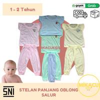 1LUSIN Stel Baju Anak Panjang Oblong Motif, Salur (SNI) 1 - 2 Tahun - L