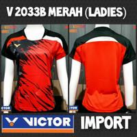 baju kaos badminton bulutangkis cewek wanita victor impor v2033b merah