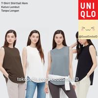 UNIQLO T-SHIRT SHIRTTAIL HEM KATUN LEMBUT TANPA LENGAN KAOS WANITA