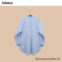 [HR] Baju Atasan Wanita Motif Garis Salur Biru Muda Lengan Panjang