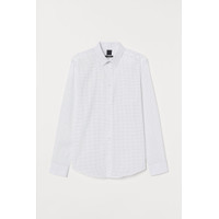 H&M Kemeja Kerja Kantor Easy Iron Slim Fit Shirt White Dotted Titik