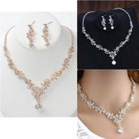 Perhiasan set pesta kalung dan anting JS33