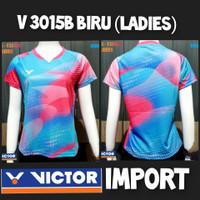 baju kaos badminton bulutangkis cewek wanita victor import v3015b biru