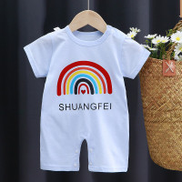 Jumper bayi lengan pendek 0-6 bulan lucu /baju bayi lucu jumper import - Rainbow Biru, 59