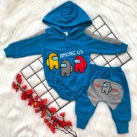 Baju setelan 3in1 kemeja hoodie celana pergi jalan casual anak laki