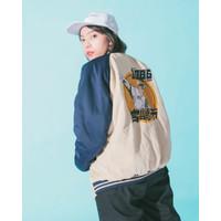 Miyazaki Club of 1986 Varsity Baseball Jepang Vintage Jaket Biru Navy