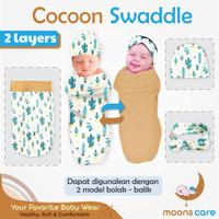 Cocoon Swaddle Moons Bedong instan Motif bolak balik
