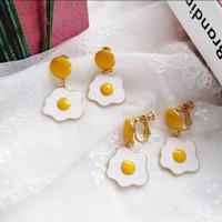 Anting Jepit clip egg telur / anting tanpa tindik fashion wanita korea