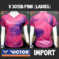 baju kaos badminton bulutangkis cewek wanita import victor v3015b pink