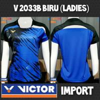baju kaos badminton bulutangkis cewek wanita victor impor v 2033b biru