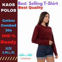 Baju Kaos Wanita Tangan Panjang Murah Kualitas Premium Cotton Comb 30