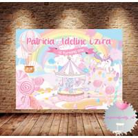 Custom Happy Birthday Backdrop Banner Spanduk Ultah Unicorn Lollipop