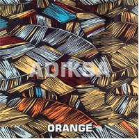 Bahan Kain Baju Meteran Motif Bulu Angsa Abstrak Lebar 240 cm - Orange
