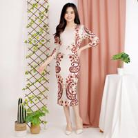 Batik Dress Modern Wanita Baju Gaun Batik kerja wanita Flower etnic