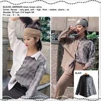 AB859608 Baju Atasan Kemeja Kotak Wanita Korea Import Hitam Putih