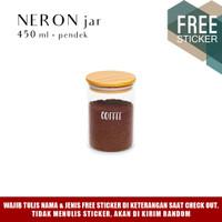 Grinn Living Neron Glass Jar 450 ml Toples Kaca tutup Bambu Kayu
