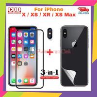 Paket Tempered Glass iPhone X/XS/XR/XS Max Anti Gores Belakang Aurora