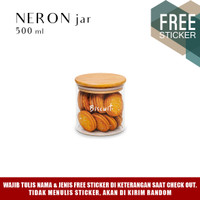 Grinn Living Neron Glass Jar 500 ml Toples Kue tutup Kayu Bambu