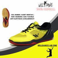 sepatu badminton pria original willdance air one kuning hitam olahraga - 38