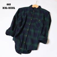 Kemeja Pria Big Size XXL-XXXL Flanel Lengan Panjang Fashion Cowok - 007, XXXL