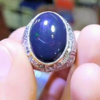 cincin batu kalimaya Banten black opal 100% asli natural