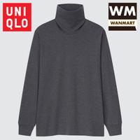 UNIQLO T-Shirt Kaos Pria Soft Touch Turtle Neck Lengan Panjang Gray