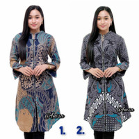 Baju Batik Wanita Tunik Lengan Panjang Modis Jazzy Zipper