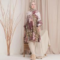 Baju Atasan Wanita Hijab Khalila Tunik Muslim Batik Cantik Pesta Kerja - Mocca, M