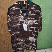 Kemeja Short Sleeve Shirt Marble Pull and Bear Pria Original Size M