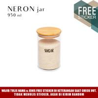 Grinn Living Neron Glass Jar 950 ml Toples Kaca tutup Bambu Kayu
