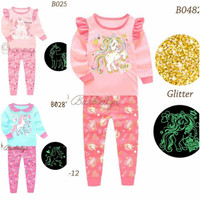 Baju Tidur Unicorn Anak Cewek Glow In The Dark size 3-7tahun