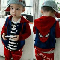 Baju Setelan Anak Laki-Laki Usia 2 3 4 Tahun Spider Terbaru Maroon SKD