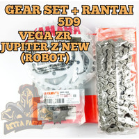 Gear set + rantai YAMAHA KUALITAS ORI VEGA ZR 5D9 JUPITER Z NEW ROBOT