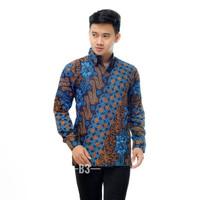 Baju Batik Pria - Batik Panjang Jumbo - Kemeja Batik Pria Panjang - Seno Biru, M