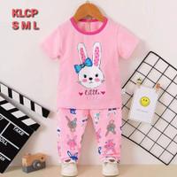 Baju tidur anak perempuan / piyama anak import /setelan anak perempuan - pink rabbit, 65