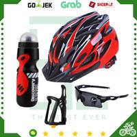 Paket Aksesoris Helm Sepeda MTB + Kacamata + Holder Botol Minum Sepeda