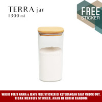 Grinn Living Terra Glass Jar 1300ml Toples Gula tutup Kayu Bambu