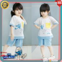 Setelan Set Baju Santai Smurf Kids Anak Perempuan Cewek 3 4 5 Tahun