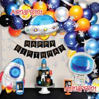 Set Paket Balon Dekorasi Ulang Tahun Astronot Astronaut JUMBO