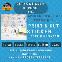Cetak Sticker / Print Sticker Chromo Glossy A3+ Dan Cutting Murah - Tanpa Cutting