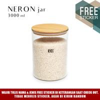 Grinn Living Neron Glass Jar 3000ml Toples Beras Tepung Kayu Susu