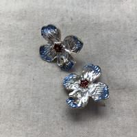 Flower Earrings - Flue Blue
