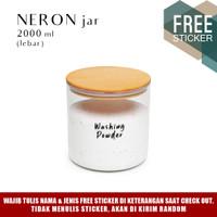 Grinn Living Neron Glass Jar 2000ml Toples Beras Tepung Kayu Susu