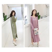 Piyama Long Dress Baju Tidur Dress Panjang Ready BIG Size PY25 - Ungu, L