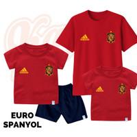 Setelan Baju Kaos Sepak Bola Euro Timnas Spanyol Bayi Sampai Remaja