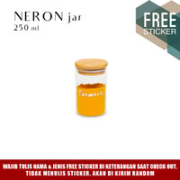 Grinn Living Neron Glass Jar 250 ml Toples kaca tutup Bambu Kayu